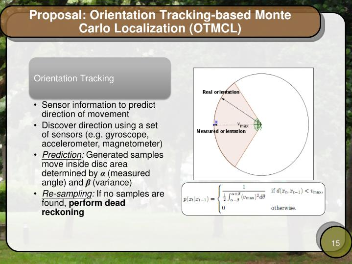 Proposal: Orientation Tracking-based Monte Carlo Localization (OTMCL)