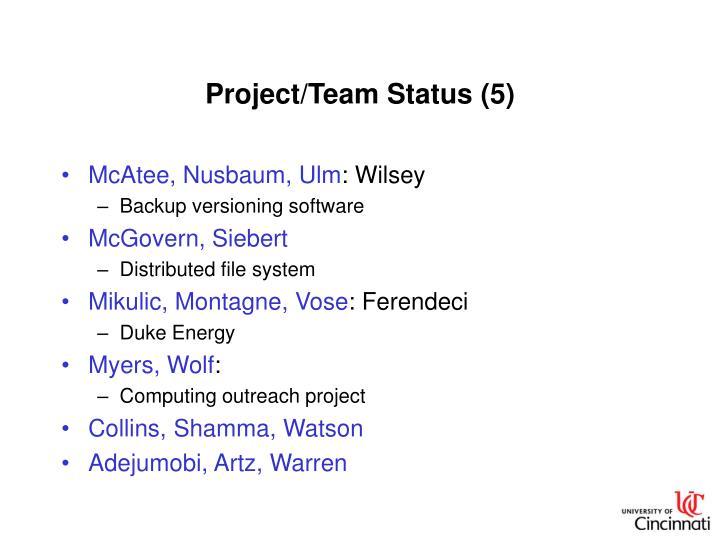 Project/Team Status (5)