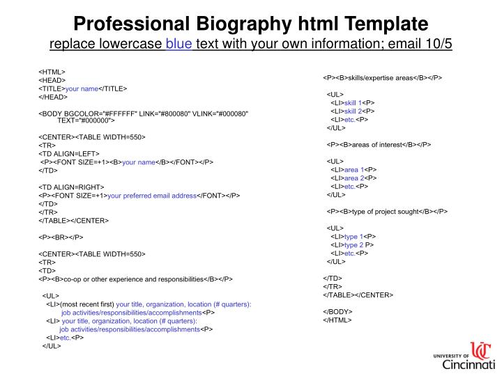 Professional Biography html Template