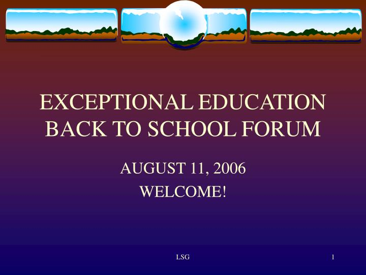exceptional education back to school forum n.