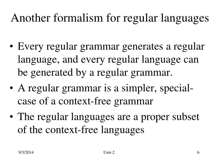 Another formalism for regular languages
