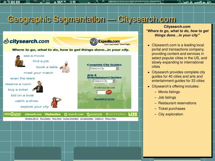 Geographic Segmentation — Citysearch.com