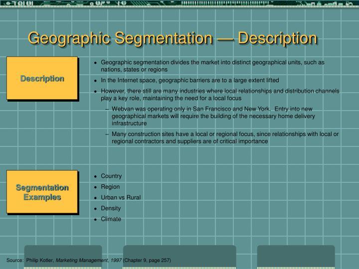 Geographic Segmentation — Description