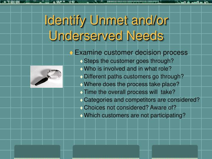Identify Unmet and/or Underserved Needs