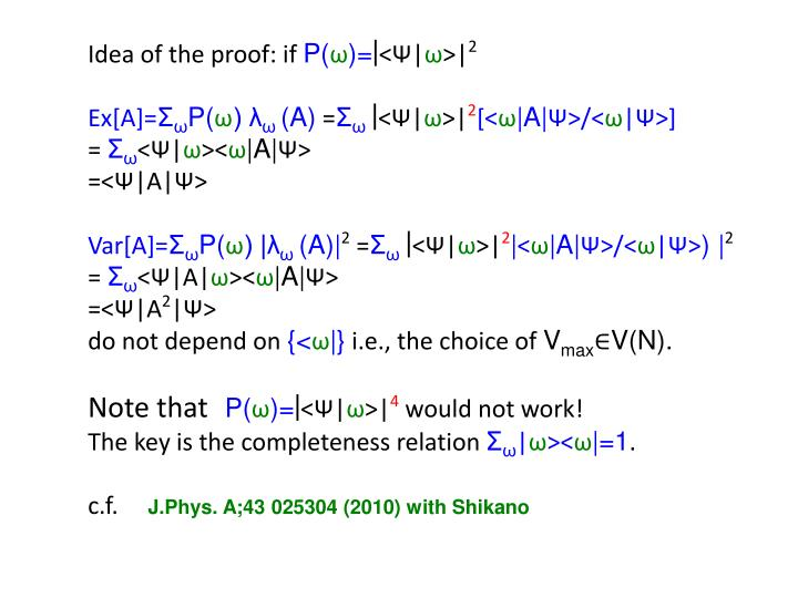 Idea of the proof: if