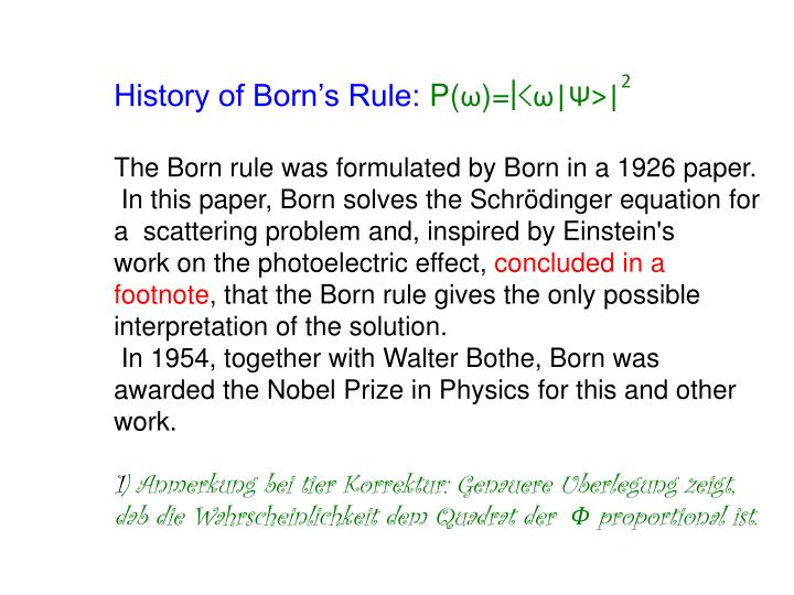 History of Born's Rule: