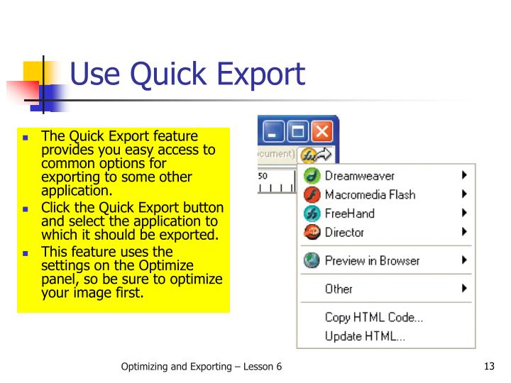 Use Quick Export