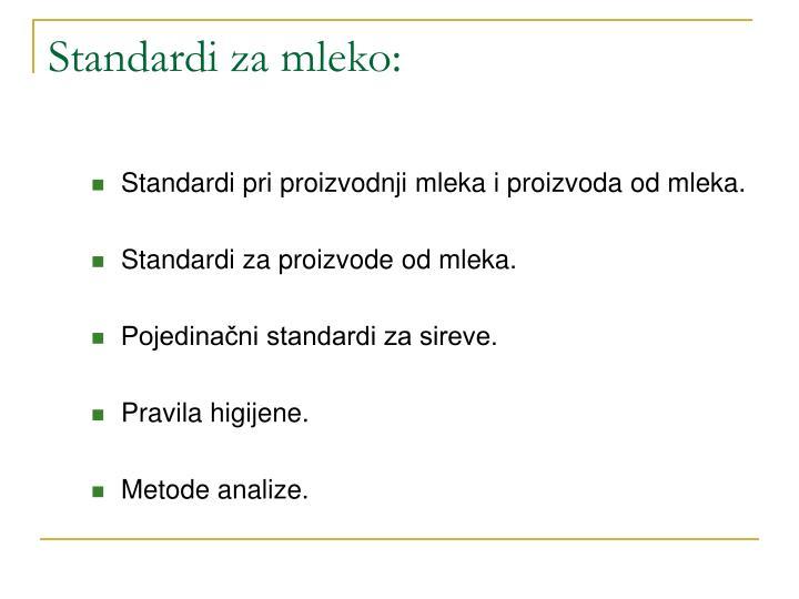 Standardi za mleko: