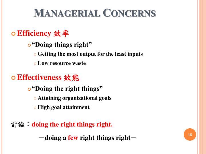 Managerial Concerns