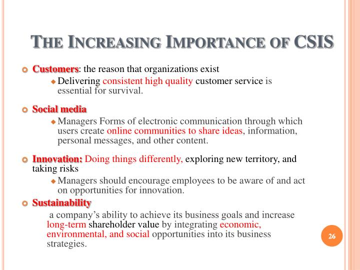 The Increasing Importance of CSIS