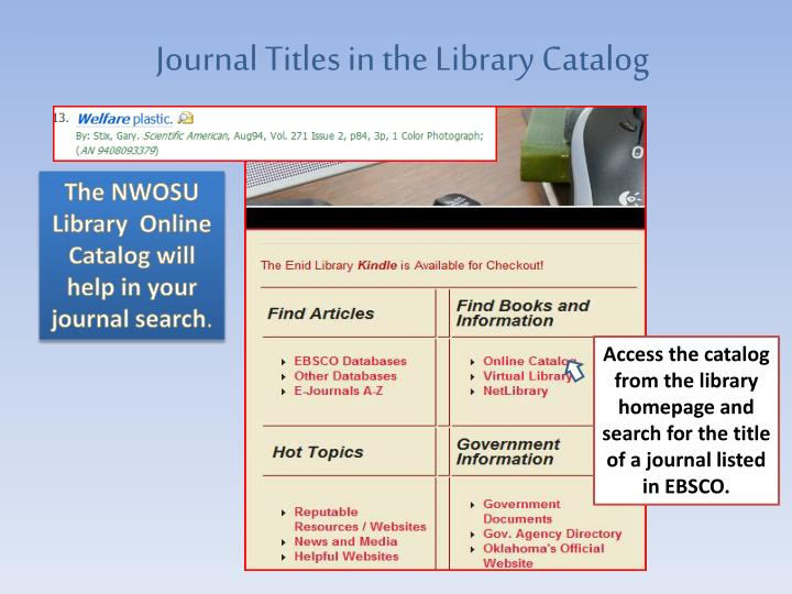 Journal Titles in the Library Catalog