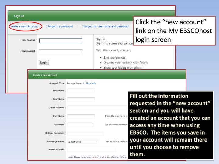 My EBSCOhost New User Information
