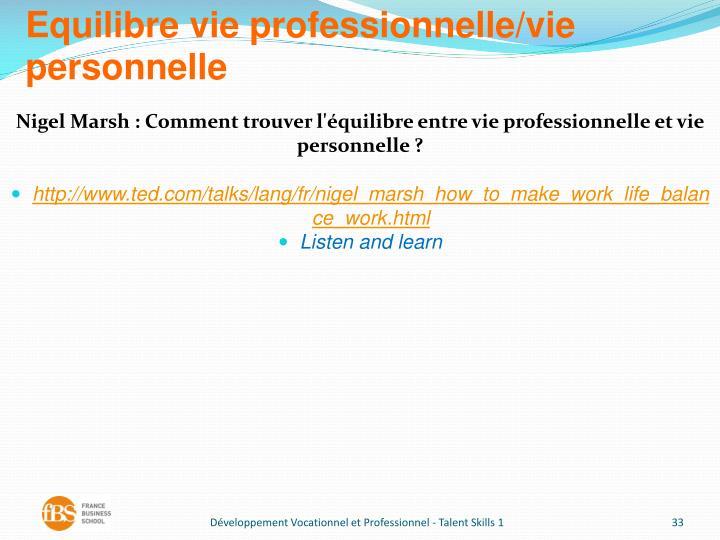 Equilibre vie professionnelle/vie personnelle
