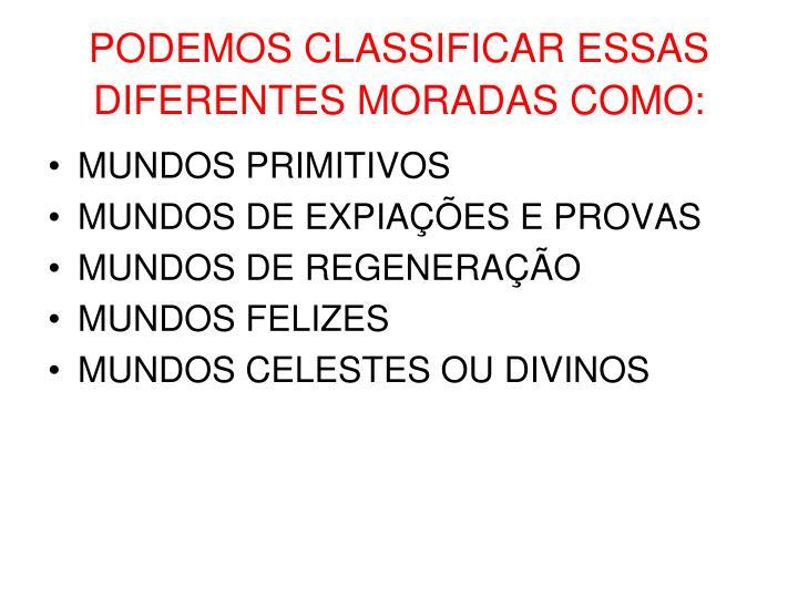 PODEMOS CLASSIFICAR ESSAS DIFERENTES MORADAS COMO: