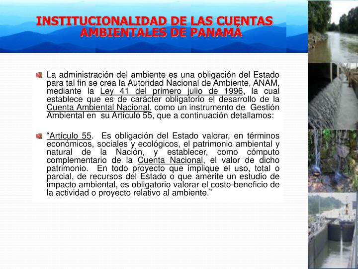 INSTITUCIONALIDAD DE LAS CUENTAS AMBIENTALES DE PANAMÁ