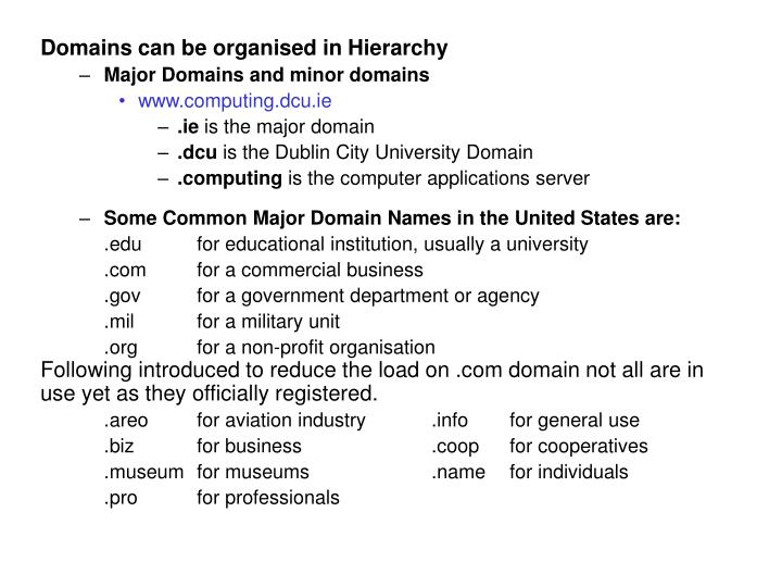 Domains can be organised in Hierarchy