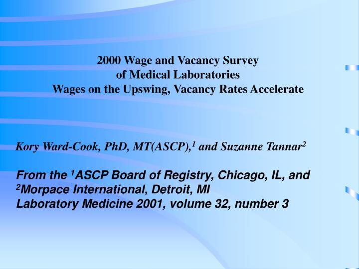 2000 Wage and Vacancy Survey