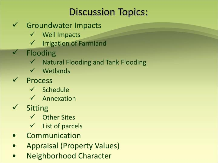 discussion topics n.