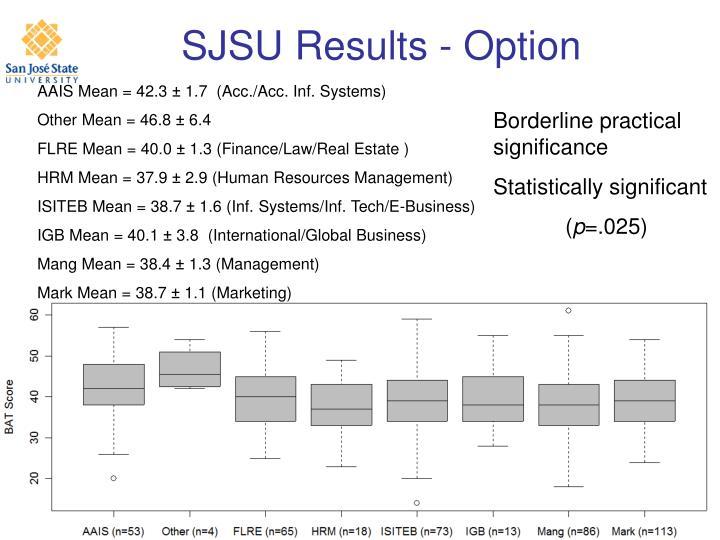 SJSU Results - Option