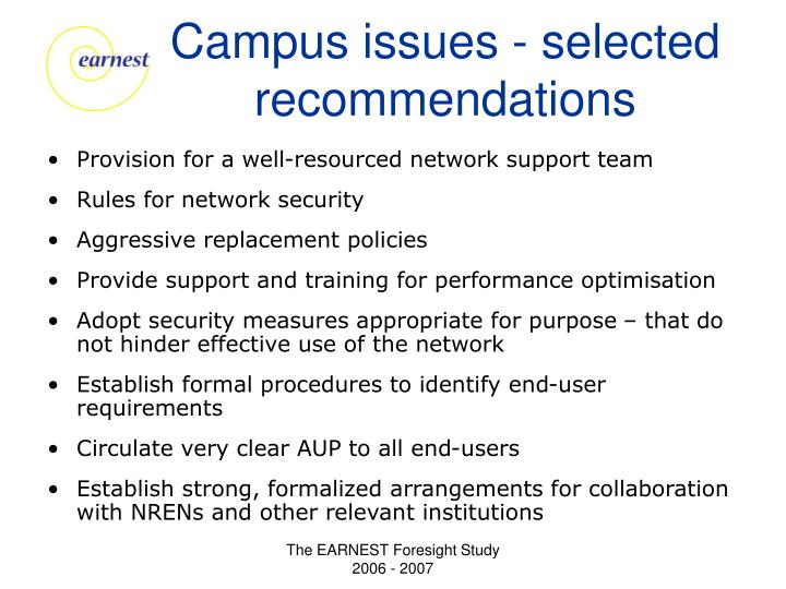 Campus issues - selected recommendations