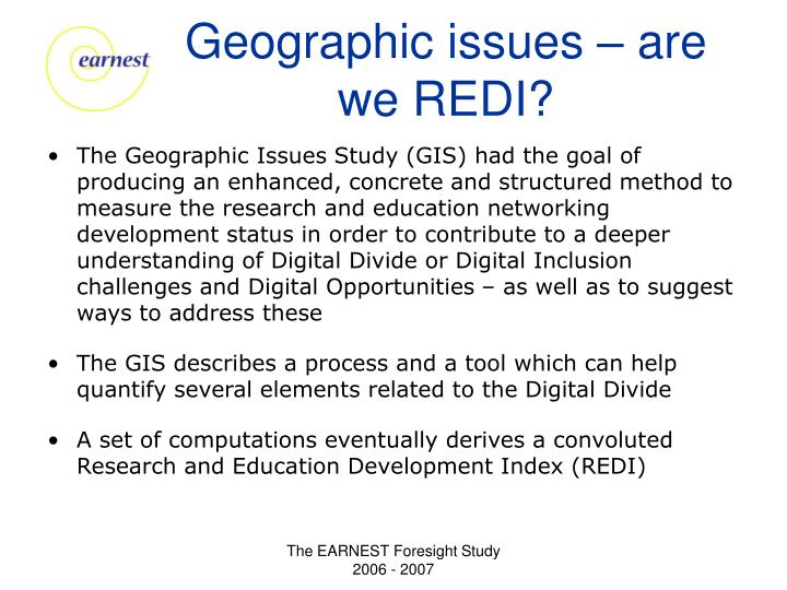 Geographic issues – are we REDI?