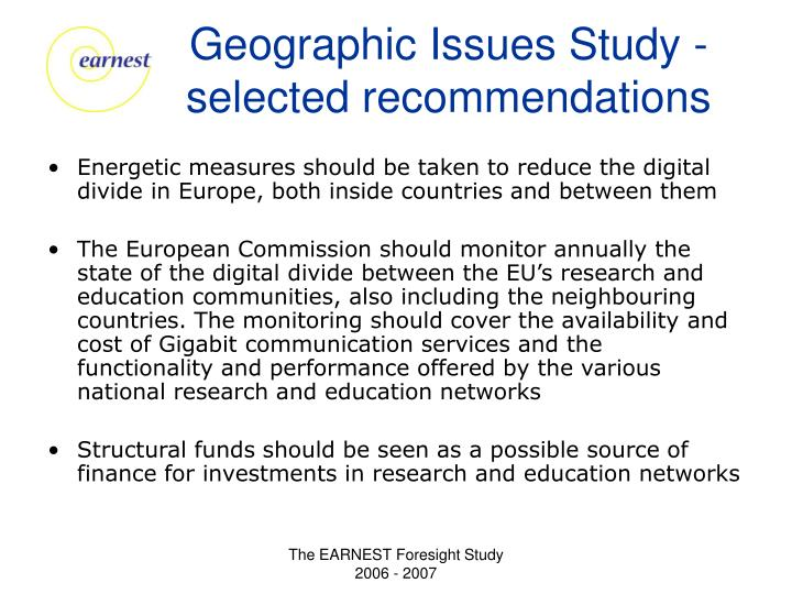 Geographic Issues Study - selected recommendations