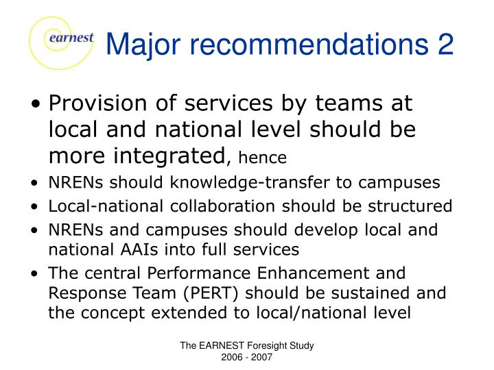 Major recommendations 2