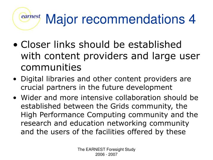 Major recommendations 4