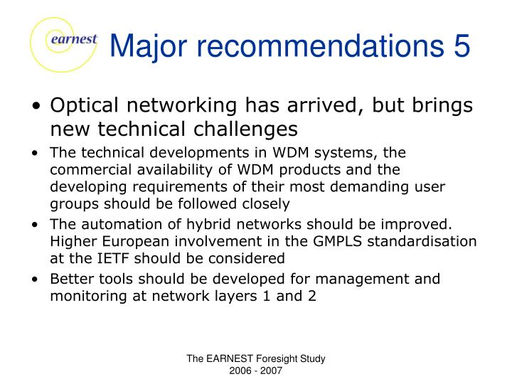 Major recommendations 5