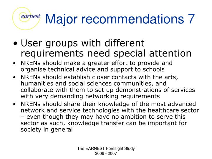 Major recommendations 7