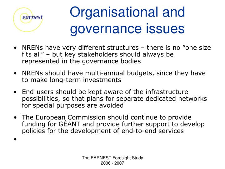 Organisational and governance issues