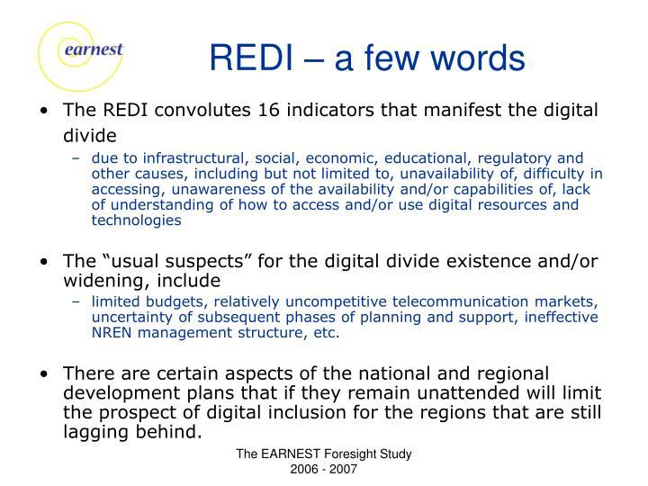 REDI – a few words