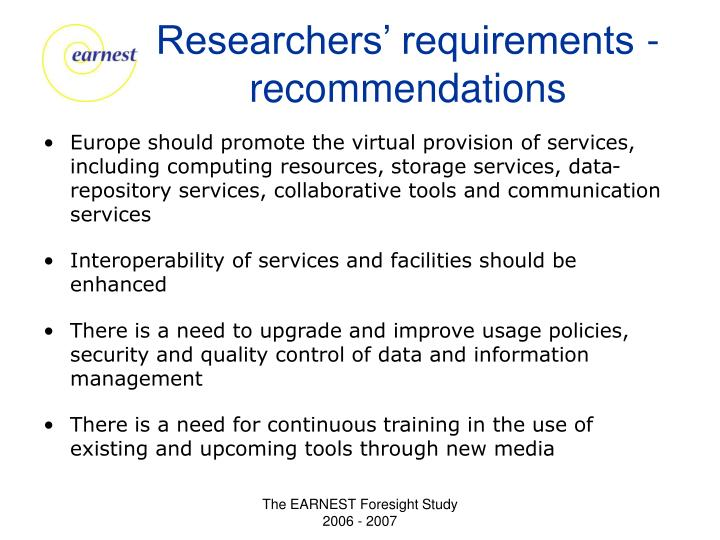 Researchers' requirements - recommendations