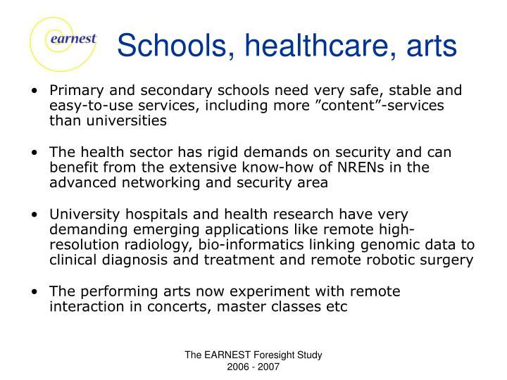 Schools, healthcare, arts