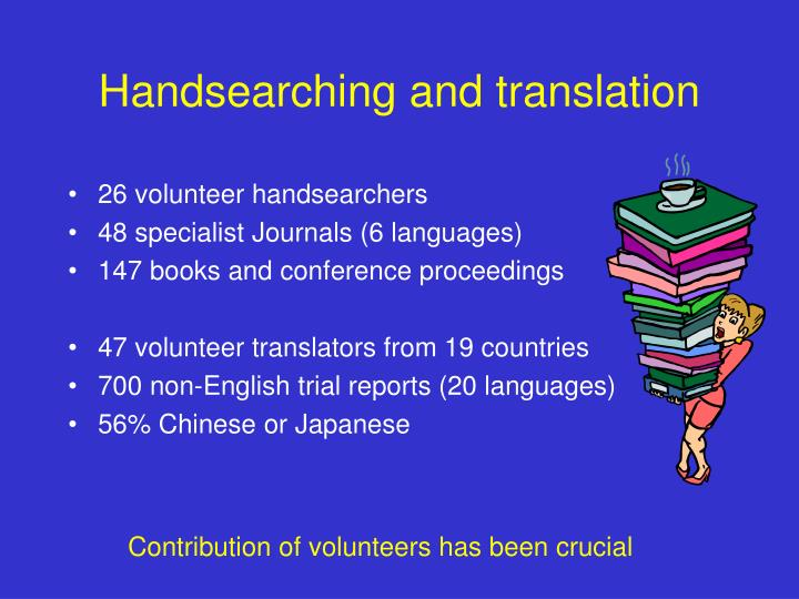 Handsearching and translation