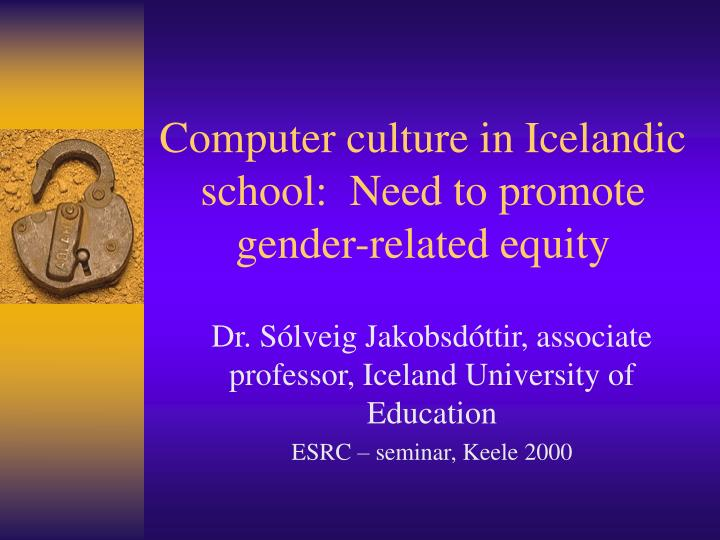 computer culture in icelandic school need to promote gender related equity n.