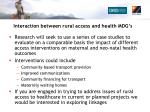 interaction between rural access and health mdg s1