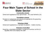 four main types of school in the state sector
