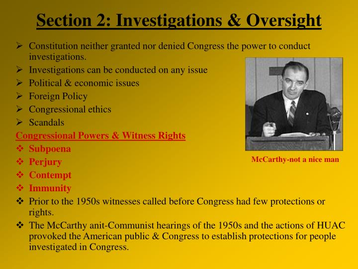 section 2 investigations oversight n.