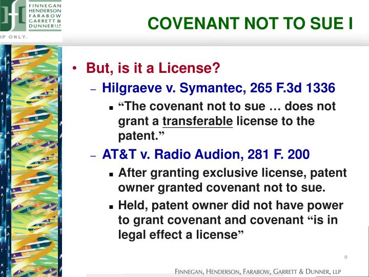 COVENANT NOT TO SUE I