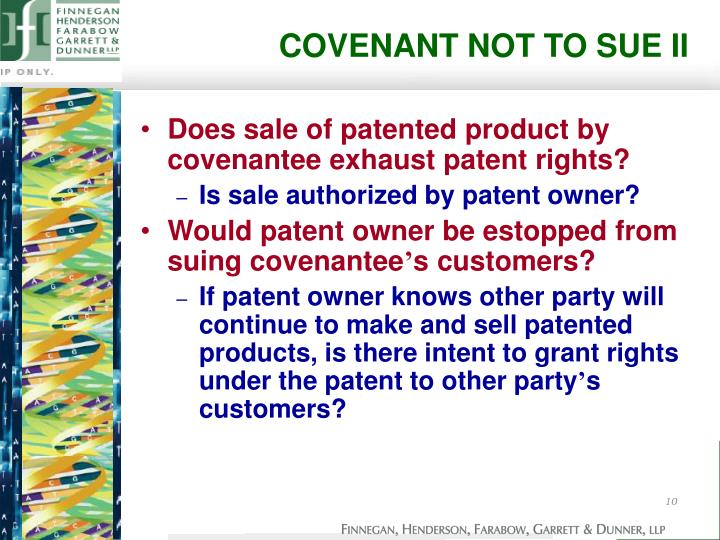 COVENANT NOT TO SUE II