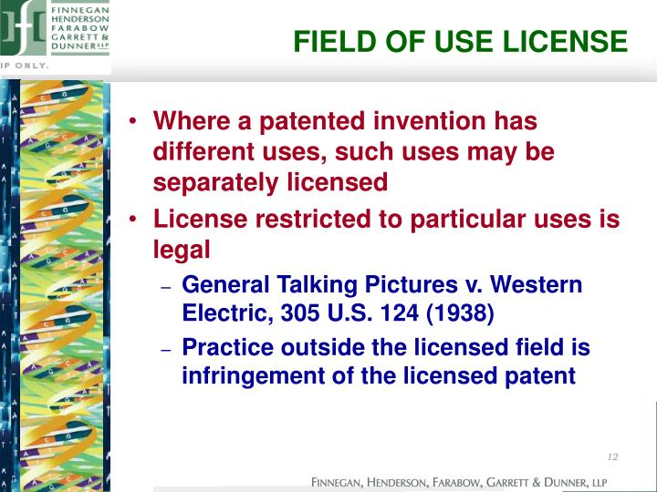 FIELD OF USE LICENSE