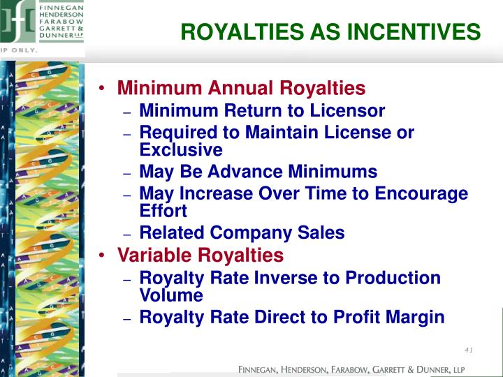 ROYALTIES AS INCENTIVES