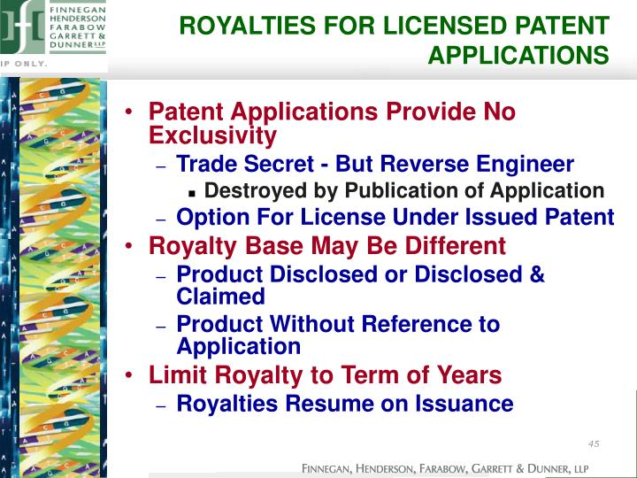 ROYALTIES FOR LICENSED PATENT APPLICATIONS