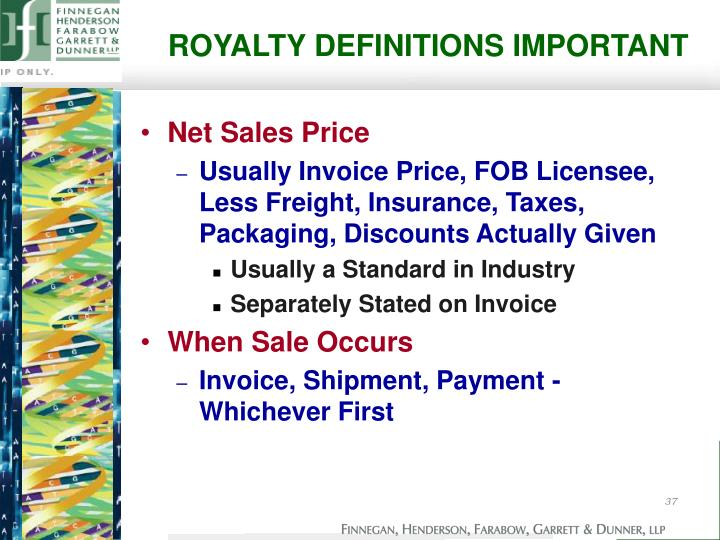 ROYALTY DEFINITIONS IMPORTANT