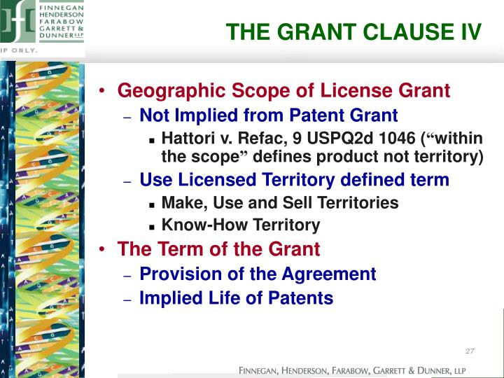 THE GRANT CLAUSE IV