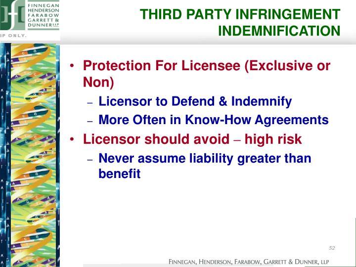 THIRD PARTY INFRINGEMENT INDEMNIFICATION