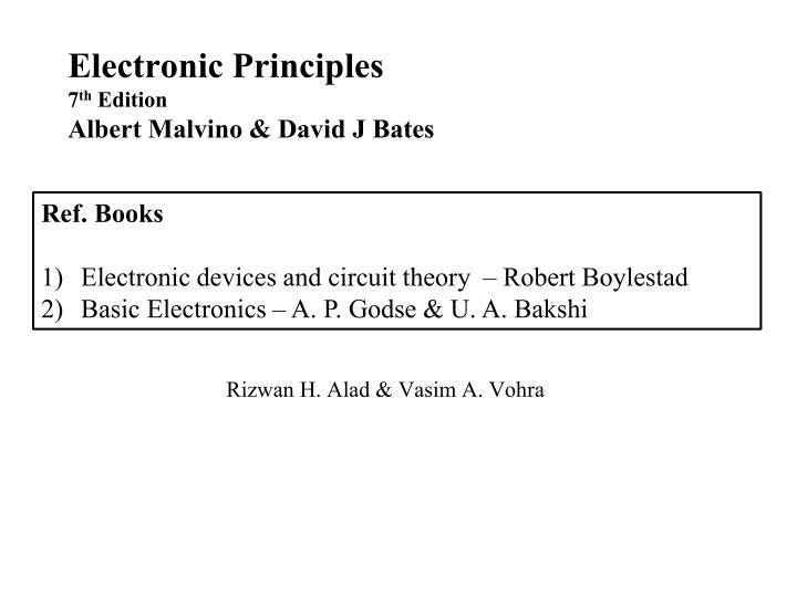 electronic principles 7 th edition albert malvino david j bates n.