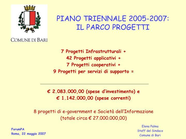 Piano triennale 2005 2007 il parco progetti