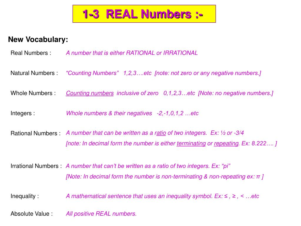 Ppt 1 3 Real Numbers Powerpoint Presentation Id3886439